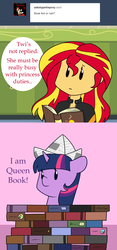 Size: 1280x2730 | Tagged: safe, artist:estrill, sunset shimmer, twilight sparkle, equestria girls, friendship games, askbookobsessedtwilight, book, book fort, cute, hat, paper hat, that pony sure does love books, twiabetes
