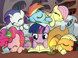 Size: 8000x6000 | Tagged: safe, artist:drawponies, applejack, fluttershy, gummy, pinkie pie, rainbow dash, rarity, spike, twilight sparkle, dragon, earth pony, pony, unicorn, absurd resolution, book, candle, cuddle puddle, cuddling, cute, dashabetes, diapinkes, eyes closed, female, filly, hat, jackabetes, male, mane seven, mane six, open mouth, pillow, raribetes, shyabetes, sleeping, smiling, snuggling, spikabetes, twiabetes, weapons-grade cute, younger