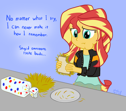 Size: 1000x880   Tagged: safe, artist:phallen1, sunset shimmer, equestria girls, 30 minute art challenge, eating, female, hay, herbivore vs omnivore, homesick shimmer, humans doing horse things, monologue, omnivore, sandwich, solo, sunset wants her old digestive system back, thought bubble, wonder bread