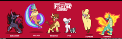 Size: 2168x691 | Tagged: alpaca, arizona cow, artist:droll3, calf, classical unicorn, cloven hooves, community related, cow, deer, fightin' six, fire, lamb, leonine tail, longma, mane of fire, oleander, paprika paca, pom lamb, puppy, red background, reindeer, safe, sheep, sheep dog, simple background, them's fightin' herds, tianhuo, unicornomicon, velvet reindeer