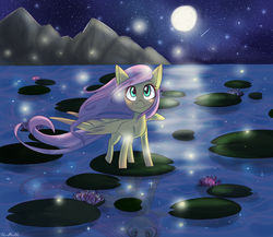 Size: 2300x2000 | Tagged: safe, artist:silbersternenlicht, fluttershy, firefly (insect), full moon, lake, moon, mountain, night sky, reflection, shooting star, signature, solo, spread wings, stars