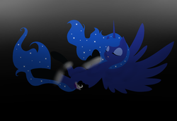 Size: 1600x1099 | Tagged: safe, artist:lunicmlp, princess luna, eyes closed, flying, gradient background, solo
