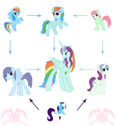 Size: 1600x1733 | Tagged: safe, artist:kpendragon, glory, minty, rainbow dash, fusion, fusion diagram, g1, g1 to g4, g3, g3 to g4, generation leap, hexafusion