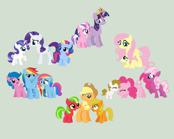 Size: 1024x823 | Tagged: alicorn, applejack, applejack (g1), applejack (g3), artist:hateful-minds, big crown thingy, earth pony, element of magic, family, fanfic art, female, filly, firefly, fluttershy, foal, g1, g1 six, g1 to g4, g3, g3 to g4, g4, generation leap, glory, gray background, jewelry, mane six, mare, mother and daughter, offspring, parent:applejack, parent:fluttershy, parent:pinkie pie, parent:rainbow dash, parent:rarity, parent:twilight sparkle, pegasus, pinkie pie, pinkie pie (g3), pony, posey, rainbow dash, rainbow dash (g3), rarity, rarity (g3), regalia, safe, simple background, sparkler (g1), surprise, twilight, twilight sparkle, twilight sparkle (alicorn), unicorn