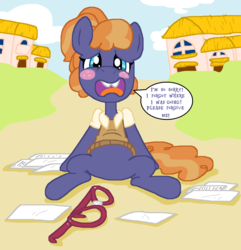 Size: 2300x2388 | Tagged: safe, artist:tagman007, frazzle rock, princess spike (episode), adorkable, blushing, cute, dork, frazzlebetes, paper, solo