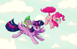 Size: 1178x750 | Tagged: alicorn, artist:chiuuchiuu, dragon, dragons riding ponies, female, flying, mare, pinkie being pinkie, pinkiecopter, pinkie physics, pinkie pie, pony, safe, spike, tailcopter, twilight sparkle, twilight sparkle (alicorn)