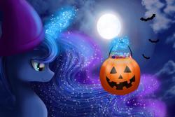 Size: 1500x1000   Tagged: safe, artist:chanceyb, princess luna, bat, candy, female, halloween, hat, holiday, jack-o-lantern, magic, moon, night, pumpkin, solo, telekinesis, wizard hat