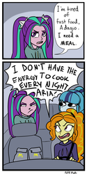 Size: 1000x2000 | Tagged: 2 panel comic, adagio dazzle, angry, aria blaze, artist:puffpink, car, car interior, clothes, comic, dialogue, driving, equestria girls, female, mamadagio, mcdonald's, open mouth, safe, sonata dusk, speech bubble, sweatshirt, the dazzlings, unamused, yelling