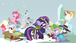 Size: 1200x692 | Tagged: safe, artist:dm29, big macintosh, bon bon, coco pommel, derpy hooves, dj pon-3, doctor whooves, gilda, lemon hearts, lyra heartstrings, minuette, moondancer, octavia melody, pinkie pie, rainbow dash, rarity, smooze, spike, sweetie drops, time turner, trouble shoes, twilight sparkle, twinkleshine, vinyl scratch, alicorn, griffon, pony, twittermite, amending fences, appleoosa's most wanted, bloom and gloom, brotherhooves social, canterlot boutique, castle sweet castle, do princesses dream of magic sheep, made in manehattan, make new friends but keep discord, party pooped, princess spike (episode), rarity investigates, slice of life (episode), tanks for the memories, the cutie map, the lost treasure of griffonstone, alternate hairstyle, background six, bowtie, box, cardboard box, charlie brown, clothes, crossing the memes, crying, derpysaur, detective rarity, dress, female, fusion, glasses, hat, i didn't listen, i'm pancake, implied rarijack, lyrabon (fusion), mare, meme, new crown, ocular gushers, orchard blossom, peanuts, princess dress, punklight sparkle, sled, snow, staff, staff of sameness, sweater, the meme continues, the ride never ends, the story so far of season 5, this isn't even my final form, top hat, twilight scepter, twilight sparkle (alicorn), unamused, volumetric mouth, wig