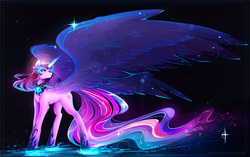 Size: 3533x2222 | Tagged: safe, artist:koveliana, twilight sparkle, alicorn, pony, equestria girls, friendship games, chromatic aberration, color porn, equestria girls ponified, female, large wings, mare, midnight sparkle, ponified, solo