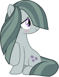 Size: 3200x4182 | Tagged: safe, artist:djdavid98, artist:jeatz-axl, marble pie, pony, hearthbreakers, .ai available, blushing, cute, hair over one eye, looking back, raised hoof, simple background, sitting, smiling, solo, transparent background, vector