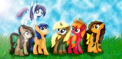 Size: 2910x1424 | Tagged: safe, artist:t-mack56, big macintosh, cheese sandwich, doctor whooves, flash sentry, soarin', time turner, trenderhoof, pony, base used, flare warden, glide, grilled cheese (r63), macareina, missing cutie mark, rule 63, tail bow, trend setter
