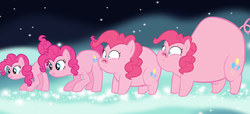 Size: 11728x5344 | Tagged: safe, artist:megarainbowdash2000, pinkie pie, pig, :i, absurd resolution, animorphs, butt expansion, fat, impossibly large ass, piggie pie, piggy pie, pigified, scrunchy face, solo, species swap, transformation, transformation sequence, vector, wide eyes