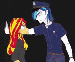 Size: 1200x1000 | Tagged: safe, artist:eduardo-rivera, artist:zorbitas, shining armor, sunset shimmer, fanfic:fractured sunlight, equestria girls, colored, crying, fanfic art, police officer