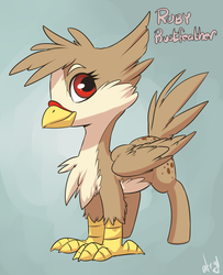 Size: 1200x1477   Tagged: safe, artist:atryl, oc, oc only, oc:ruby rustfeather, classical hippogriff, hippogriff, chest fluff, female, smiling, solo, standing