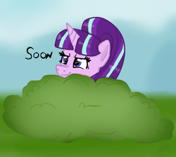 Size: 540x480 | Tagged: safe, artist:apple-jazzy, starlight glimmer, what about discord?, bush, solo, soon, starlight stalker