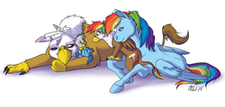 Size: 1552x738 | Tagged: safe, artist:carnivorouscaribou, gilda, rainbow dash, oc, oc:gren, oc:rainbow feather, classical hippogriff, griffon, hippogriff, pegasus, pony, baby, bedroom eyes, brother and sister, curious, cute, family, female, fluffy, gildash, interspecies, interspecies offspring, lesbian, magical lesbian spawn, newborn, offspring, parent:gilda, parent:rainbow dash, parents:gildash, prone, shipping, siblings, smiling, wide eyes, wink