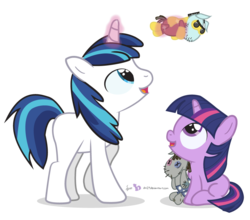 Size: 875x770 | Tagged: artist:dm29, bbbff, brutus force, colt, cute, daaaaaaaaaaaw, duo, filly, filly twilight sparkle, julian yeo is trying to murder us, magic, safe, shining adorable, shining armor, simple background, smarty pants, transparent background, twiabetes, twilight sparkle, twily, younger