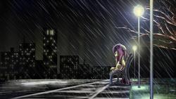 Size: 4800x2700   Tagged: safe, artist:flamevulture17, fluttershy, pegasus, pony, absurd resolution, bench, building, city, female, floppy ears, lamppost, lidded eyes, looking down, mare, night, rain, road, sad, scenery, sidewalk, sitting, sky, solo, street, streetlight, tree, wet, wet mane