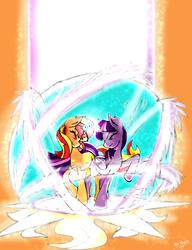 Size: 2210x2872   Tagged: safe, artist:shard-of-life, sunset shimmer, twilight sparkle, alicorn, pony, unicorn, female, horns are touching, lesbian, magic, shipping, sunsetsparkle, twilight sparkle (alicorn)