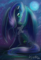 Size: 1024x1489 | Tagged: safe, artist:mad--munchkin, oc, oc only, oc:star dream, pegasus, pony, commission, female, green eyes, mare, moon, night, solo, stars, watermark