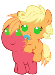Size: 786x1067 | Tagged: safe, artist:red4567, applejack, big macintosh, pony, applejack riding big macintosh, baby, baby macintosh, baby pony, babyjack, brother and sister, colt, colt big macintosh, cute, female, filly, filly applejack, foal, hatless, jackabetes, macabetes, male, missing accessory, pacifier, ponies riding ponies, recolor, red4567 is trying to murder us, riding, siblings, simple background, weapons-grade cute, young, younger