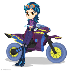 Size: 817x817 | Tagged: safe, indigo zap, equestria girls, friendship games, official, biker, clothes, female, friendship games motocross outfit, friendship games outfit, gloves, looking at you, motocross outfit, motorcross, motorcycle, motorcycle outfit, solo, tri-cross relay outfit