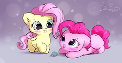 Size: 2000x1040 | Tagged: safe, artist:sverre93, fluttershy, pinkie pie, earth pony, pegasus, pony, :3, :p, ball, behaving like a cat, blushing, cute, daaaaaaaaaaaw, diapinkes, female, filly, filly fluttershy, filly pinkie pie, floppy ears, fluffy, grin, hnnng, missing cutie mark, prone, shyabetes, smiling, sverre is trying to murder us, sweet dreams fuel, tongue out, weapons-grade cute, younger