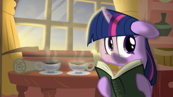 Size: 3001x1688 | Tagged: safe, artist:eagle1division, artist:stinkehund, twilight sparkle, :>, book, crepuscular rays, cute, female, floppy ears, golden oaks library, hot chocolate, looking at you, morning ponies, quill, reading, scroll, sitting, smiling, solo, teacup, twiabetes, window