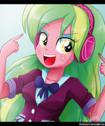 Size: 850x1022 | Tagged: safe, artist:the-butch-x, lemon zest, equestria girls, friendship games, bowtie, breasts, clothes, crystal prep academy, crystal prep academy uniform, crystal prep shadowbolts, female, headphones, long hair, open mouth, school uniform, signature, solo