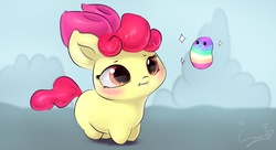 Size: 2835x1537   Tagged: safe, artist:sverre93, apple bloom, earth pony, pony, :3, :t, adorabloom, blush sticker, blushing, bow, chibi, cute, female, filly, grin, hair bow, looking at each other, smiling, solo, sparkles, sverre is trying to murder us, wubbins