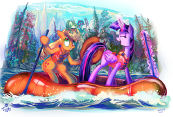 Size: 1193x813 | Tagged: safe, artist:jowybean, applejack, twilight sparkle, alicorn, earth pony, frog, pony, twijack weekly, clothes, eyes closed, female, laughing, lesbian, magic, mare, mountain, mountain range, oar, open mouth, raft, river, scenery, shipping, telekinesis, tree, twijack, twilight sparkle (alicorn), vest, water