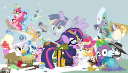 Size: 1200x692 | Tagged: safe, artist:dm29, apple bloom, applejack, big macintosh, bon bon, coco pommel, derpy hooves, discord, dj pon-3, doctor whooves, gilda, lemon hearts, limestone pie, lyra heartstrings, marble pie, maud pie, minuette, moondancer, octavia melody, pinkie pie, princess cadance, rainbow dash, rarity, scootaloo, shining armor, smooze, spike, sweetie belle, sweetie drops, time turner, trouble shoes, twilight sparkle, twinkleshine, vinyl scratch, alicorn, griffon, pony, twittermite, amending fences, appleoosa's most wanted, bloom and gloom, brotherhooves social, canterlot boutique, castle sweet castle, crusaders of the lost mark, do princesses dream of magic sheep, hearthbreakers, made in manehattan, make new friends but keep discord, party pooped, princess spike (episode), rarity investigates, scare master, slice of life (episode), tanks for the memories, the cutie map, the lost treasure of griffonstone, the one where pinkie pie knows, what about discord?, alicorn costume, alternate hairstyle, athena sparkle, back to the future, background six, bedroom eyes, bowtie, box, cardboard box, charlie brown, clothes, costume, crossdressing, crossing the memes, crying, cutie mark, cutie mark crusaders, derpysaur, detective rarity, dress, fake horn, fake wings, female, filly, fusion, glasses, hat, i didn't listen, i'm pancake, implied rarijack, it happened, lyrabon (fusion), mare, meme, new crown, nightmare night costume, ocular gushers, orchard blossom, peanuts, pest control gear, pinkie mcpie, princess dress, punklight sparkle, revolutionary girl utena, sled, snow, staff, staff of sameness, sunglasses, sweater, the cmc's cutie marks, the meme continues, the ride never ends, the story so far of season 5, this isn't even my final form, toilet paper roll, toilet paper roll horn, top hat, twilight muffins, twilight scepter, twilight sparkle (alicorn), unamused, volumetric mouth, wig