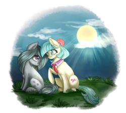 Size: 1243x1114   Tagged: safe, artist:gela98, coco pommel, marble pie, cloud, crepuscular rays, friendshipping, grass, sitting, sun