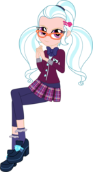 Size: 800x1468 | Tagged: dead source, safe, artist:gerardogreiff, color edit, edit, sugarcoat, equestria girls, friendship games, bowtie, clothes, colored, crossed legs, crystal prep academy uniform, female, glasses, human coloration, looking at you, school uniform, simple background, solo, transparent background, vector