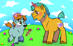 Size: 1024x649 | Tagged: artist:hateful-minds, crown, duo, gay, male, moustache, older, older snails, older snips, pony, safe, scepter, shipping, snails, snaps, snips, unicorn