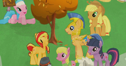 Size: 578x302 | Tagged: safe, screencap, aloe, applejack, cherry berry, flash sentry, sunset shimmer, twilight sparkle, pony, female, flashimmer, gameloft, love triangle, male, mobile game, shipping, straight