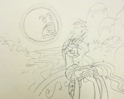 Size: 599x478 | Tagged: artist:sketchyjackie, crossover, monochrome, parody, pencil drawing, princess celestia, raising the sun, rick and morty, safe, screaming sun, sketch, sun, the wedding squanchers, traditional art, wince