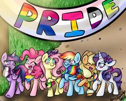 Size: 5000x4000 | Tagged: dead source, safe, artist:rarityforever, applejack, fluttershy, pinkie pie, rainbow dash, rarity, twilight sparkle, alicorn, pony, agender, agender pride flag, aromantic, aromantic pride flag, asexual, asexual pride flag, bandana, banner, bisexual pride flag, bisexuality, bow, demiromantic pride flag, eyes closed, eyeshadow, female, flag, gay pride, gay pride flag, genderfluid, genderfluid pride flag, hair bow, hair dye, implied flutterdash, implied rarijack, implied twinkie, lesbian, lgbt, makeup, mane dye, mane six, mare, one eye closed, pansexual, pansexual pride flag, pride, pride flag, sexuality headcanon, twilight sparkle (alicorn), wristband