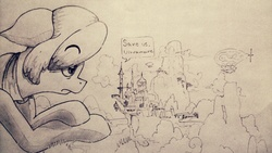 Size: 1280x720 | Tagged: safe, artist:the sexy assistant, oc, oc only, oc:ultramare, pony, airship, canterlot, clothes, cloud, crossed hooves, forest, giant pony, giantess, macro, monochrome, mountain, speech bubble, traditional art