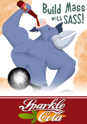 Size: 1024x1448 | Tagged: safe, artist:avastindy, iron will, fallout equestria, fallout: new vegas, nuka cola, sparkle cola, sunset sarsparilla