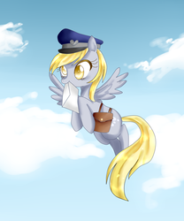 Size: 1057x1273   Tagged: safe, artist:haruliina, derpy hooves, pegasus, pony, female, flying, letter, mailbag, mailmare, mare, solo