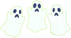Size: 1267x686 | Tagged: safe, artist:walkcow, ghost, scare master, bedsheet ghost, clothes, costume, ghost costume, halloween, halloween costume, holiday, simple background, transparent background, trio, vector