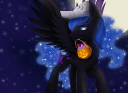Size: 1024x745 | Tagged: safe, artist:megablack0x, nightmare moon, alicorn, pony, candy, cartographer's cap, female, food, hat, jack-o-lantern, mare, moon, mouth hold, night, nightmare night, pumpkin bucket, solo