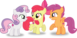 Size: 10005x4943   Tagged: safe, artist:8-notes, apple bloom, scootaloo, sweetie belle, pony, crusaders of the lost mark, .svg available, absurd resolution, adorabloom, backwards cutie mark, cute, cutealoo, cutie mark, cutie mark crusaders, diasweetes, happy, inkscape, it happened, open mouth, ponyscape, raised hoof, simple background, smiling, the cmc's cutie marks, transparent background, trio, vector