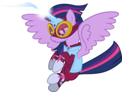 Size: 13656x10279 | Tagged: safe, artist:sugar-loop, masked matter-horn, twilight sparkle, alicorn, pony, power ponies (episode), .ai available, .svg available, absurd resolution, adobe illustrator, box art, clothes, costume, female, floating, goggles, horn, magic, mare, power ponies, simple background, solo, superhero, transparent background, twilight sparkle (alicorn), vector