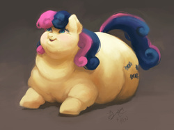 Size: 2500x1868 | Tagged: adorabon, artist:floots, artist:mellowhen, bon blob, bon bon, collaboration, cute, double chin, earth pony, fat, female, mare, obese, pony, safe, smiling, solo, sweetie drops