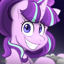 Size: 540x540 | Tagged: safe, artist:bcpony, starlight glimmer, pony, unicorn, what about discord?, binoculars, bust, dreamworks face, evil grin, female, grin, hoof hold, looking at you, mare, raised eyebrow, signature, smiling, snaplight glimmer, solo, soon, starlight stalker, wide eyes