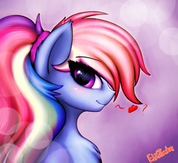 Size: 1722x1584 | Tagged: safe, artist:elzzombie, rainbow dash, pony, alternate hairstyle, bust, chest fluff, cute, dashabetes, ear fluff, female, floating heart, heart, looking at you, mare, ponytail, portrait, profile, solo