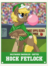 Size: 1440x1980 | Tagged: safe, artist:itstaylor-made, baseball, baseball bat, baseball cap, baseball card, bipedal leaning, bubblegum, hat, hock fetlock, hoofball, trading card